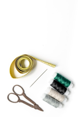 Sewing tools and kit for handmade hobby collection on white background top view mock-up Stock Photo