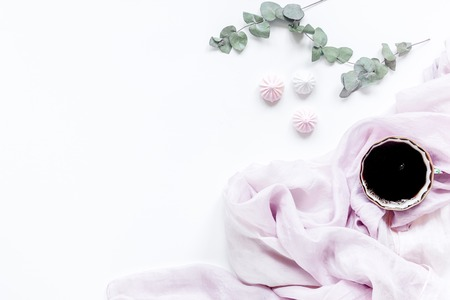 sweet marsh-mallow and spring flowers on woman white desk background top view mockup Stock Photo