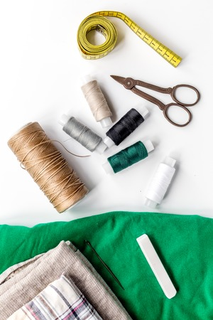tools for sewing for hobby set on white table background top view Stock Photo