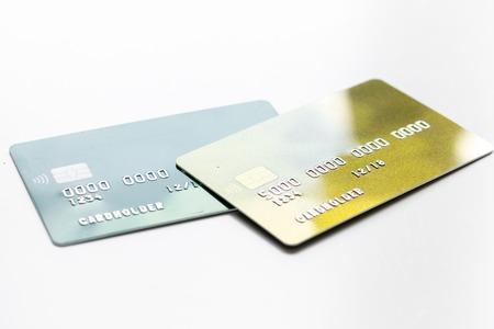 Creditcards voor zakelijke betalingen voor werk op witte office bureau achtergrond close-up Stockfoto - 79313283