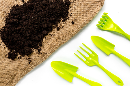green equipment with rake, trowel, ground for planting greenary on white desk background top view