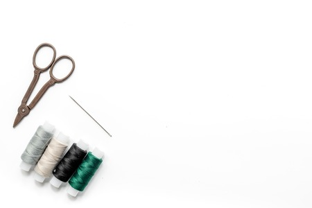 tools for sewing for hobby set on white background top view mock up Stock Photo - 79548746