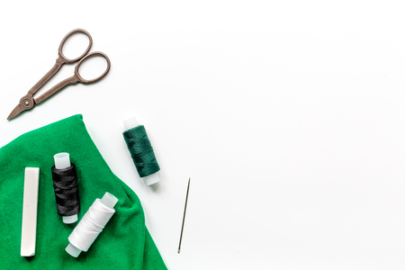 tools for sewing for hobby set on white table background top view mock up Stock Photo - 79791569