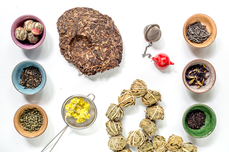 teaparty: Drink herbal tea with brew on white table background top view pattern
