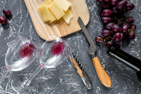 Appetizer parmesan cheese and red grape on grey stone table background top view