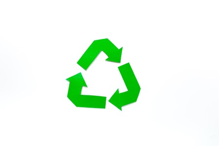 Paper recycle sign on white background top view copyspace