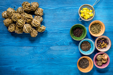 Drink herbal tea with brew blue wooden table background top view space for text