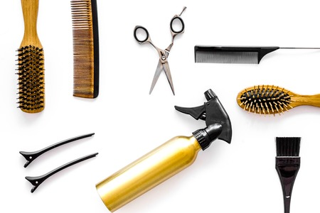 Professional hairdresser equipment on white background top view. Stock Photo