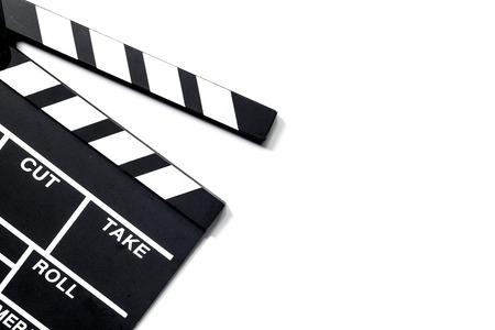 흰색 배경 상위 뷰 copyspace에 영화 clapperboard 스톡 콘텐츠