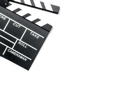 흰색 배경 상위 뷰 copyspace에 영화 clapperboard 스톡 콘텐츠 - 80787613