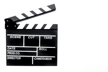 Movie clapperboard on white background top view copyspace