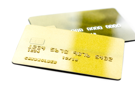 credit cards for business payments on white office desk background close up