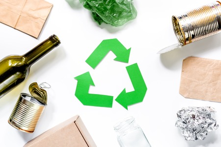 Eco concept with recycling symbol on white background top view Stock Photo