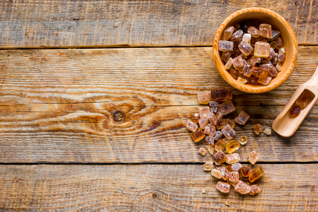 white and brown sugar for cooking sweets on kitchen wooden table background top view mock-up