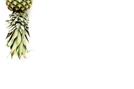 Pineapple on white background top view copyspace