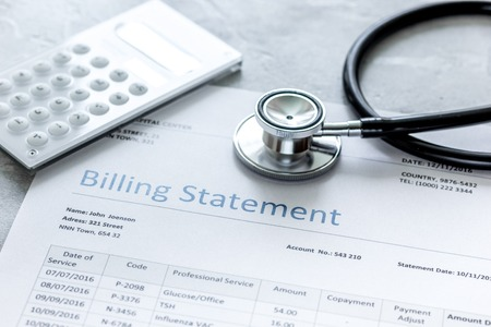 billing statement for for medical service in doctors office background Stock fotó