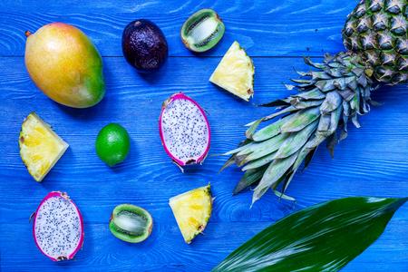 Exotic fruits. Pineapple, dragonfruit, mangosteen, mango,
