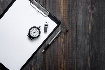 Stopwatch, pen and pad on wooden background top view copyspace mockup Stock Photo