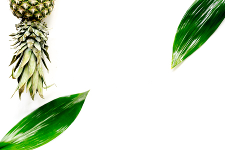 Pineapple and leaves on white background top view copyspace Reklamní fotografie