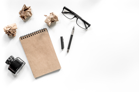 Writer concept. Vintage notebook and crumpled paper on white background top view copyspace mockup Stock Photo - 81347400