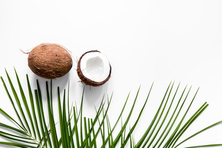 Appetizing cocount on white background top view Stok Fotoğraf - 81743948
