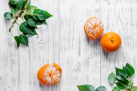 Citrus concept. Fresh oranges on wooden table background top view.