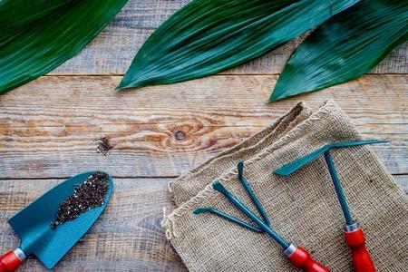 Werken in de tuin. Tuingereedschap op houten achtergrond bovenaanzicht copyspace