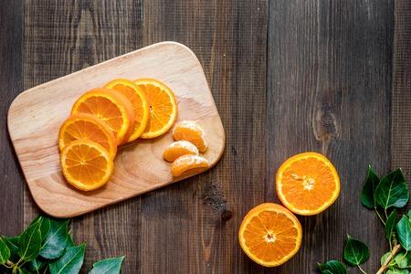 Citrus concept. Oranges on wooden table background top view copyspace 版權商用圖片