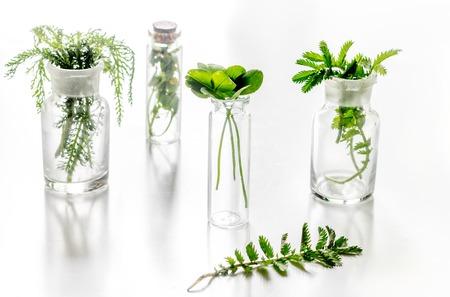 Omeopatia. Erbe medicinali in vetro su sfondo bianco.