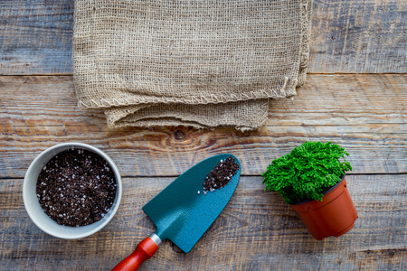 Working in garden. Shovel and pots with soil on wooden background top view mockup