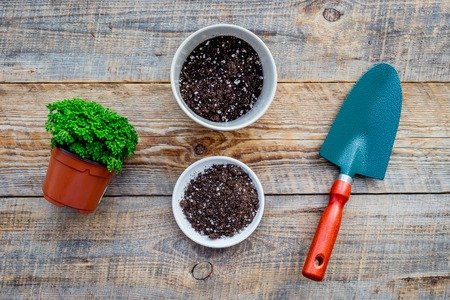 Working in garden. Shovel and pots with soil on wooden background top view.