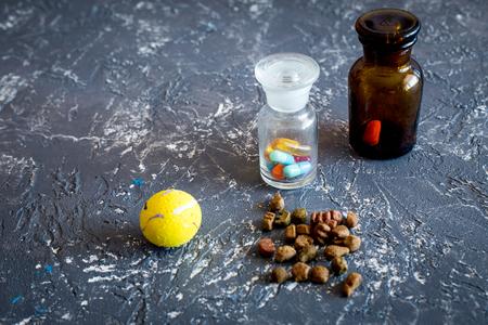 Huisdier genezen concept. Pillen en diervoeder op grijze steen hoogste mening als achtergrond