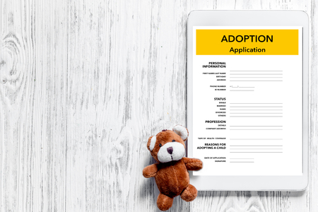 Adoption application near toy on light wooden table background top view copyspace