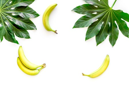 Tropical concept. Lush leaves and ripe bananas on white background top view. Stok Fotoğraf