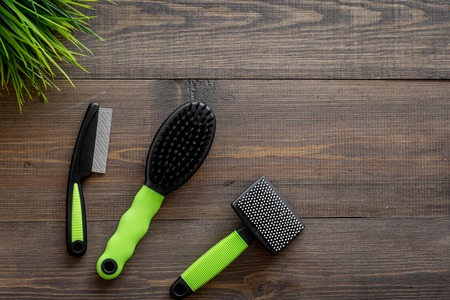 Grooming tools for training pet and brushes on wooden desk background top view mock-up
