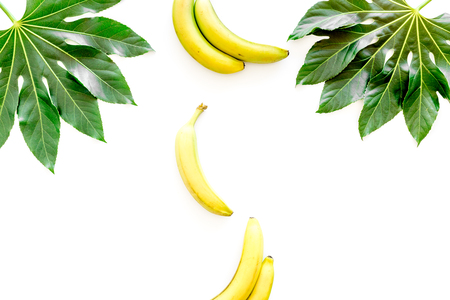 Tropical concept. Lush leaves and ripe bananas on white background top view copyspace