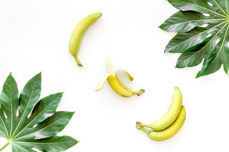 Tropical plants. Huge leaves and bananas on white background top view. Stock Photo
