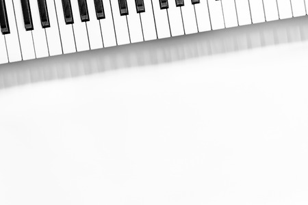 Synthesizer in music studio for dj or musician work on white desk background top view mock-up Stock Photo