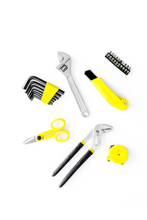 house renovation with implements set for building, painting and repair white table background top view Stock Photo