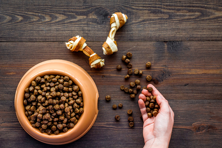 large bowl of pet - dog food spilling on wooden background top view