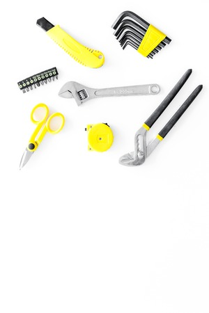 house renovation with implements set for building, painting and repair white table background top view mockup Stock Photo