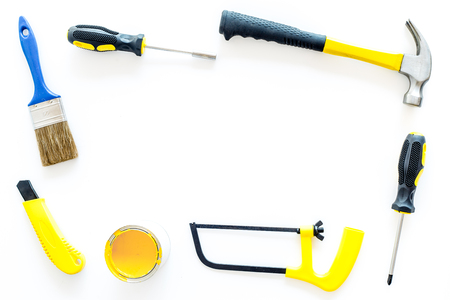set of tools for build, paint and repair house on white background top view mock-up