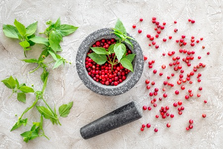 berries and herbs in mortar for making spices in food set on stone table background top view
