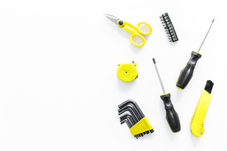 Constructor desk with set of building implements white desk background top view mockup Stock Photo
