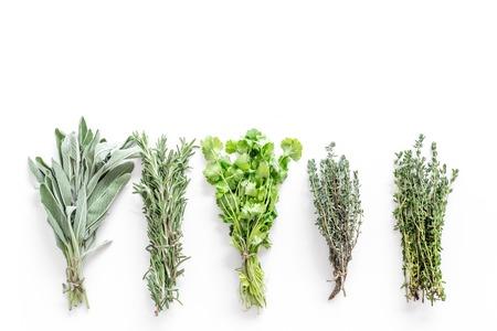 verse kruiden en groen drogen voor spice thuis eten op witte keuken Bureau achtergrond bovenaanzicht ruimte voor tekst