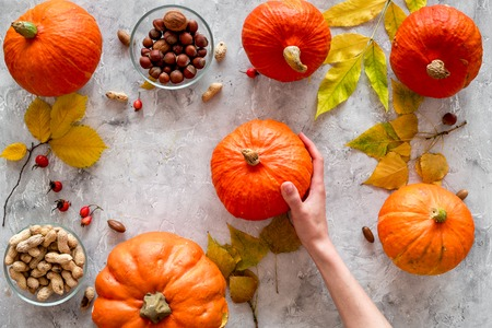 Pumpkin harvest. Pumpkins near nuts and autumn leaves on grey background top view.