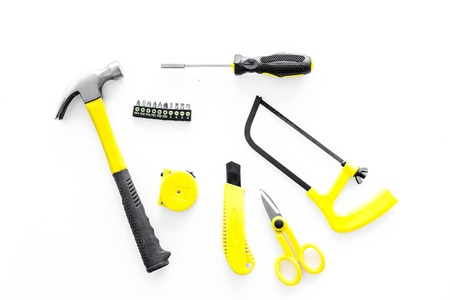 building, painting and repair tools for house constructor work place set on white background top view Stock Photo