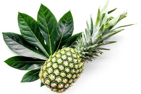 Tropische vruchten achtergrond. Pinneapple op witte bovenaanzicht copyspace