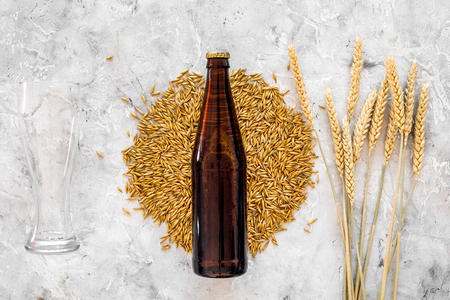 Grains of malting barley near beer glass and bottle on grey background top view