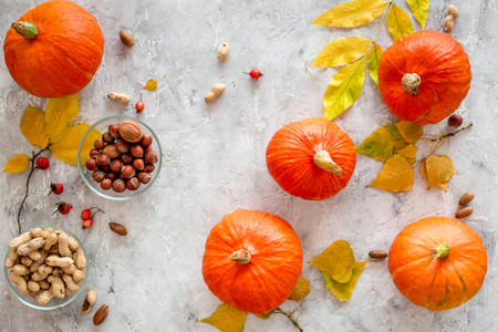 Pumpkin harvest. Pumpkins near nuts and autumn leaves on grey background top view Stock Photo